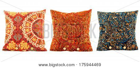 Pillows, pillows multi colored with patterns, isolated white background