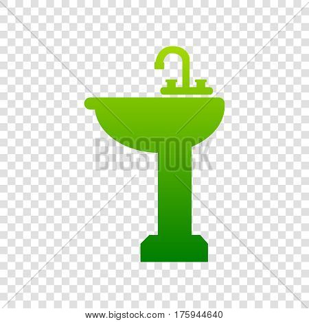 Bathroom Sink Sign. Vector. Green Gradient Icon On Transparent Background.