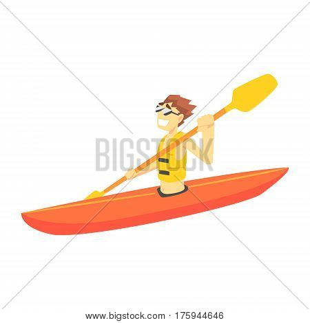 Guy Kayaking, Part Of Teenagers Practicing Extreme Sports For Recreation Set Of Cartoon Characters. Stylized Geometric Illustration With Young Man Doing Extremal Sport For Hobby.