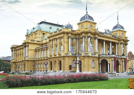 Building of Croatian National Theater, Zagreb, Croatia