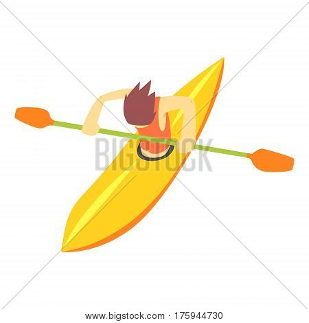 Guy On White Water Kayak, Part Of Teenagers Practicing Extreme Sports For Recreation Set Of Cartoon Characters. Stylized Geometric Illustration With Young Man Doing Extremal Sport For Hobby.