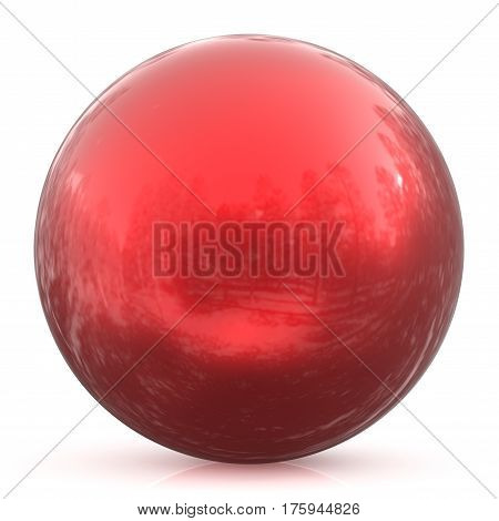 Sphere round button red ball basic circle geometric shape solid figure simple minimalistic atom element single blood drop shiny glossy sparkling object blank balloon icon. 3d render illustration