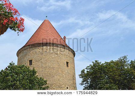 Old medieval Kaptol turret in Zagreb, Croatia