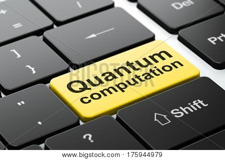 Science concept: computer keyboard with word Quantum Computation, selected focus on enter button background, 3D rendering