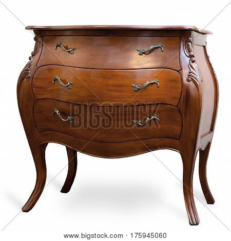 Chest of drawers, wooden chest of drawers, on isolated white background