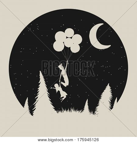 Vector typography label with girl and boy silhouette, who fly to moon. Strange night in forest.Vintage illustration