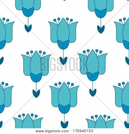 vivid blue color abstract tulip flower motif. vector illustration design in folk rustic Holland style. seamless background for wrapping paper or floral rustic fabric on white background