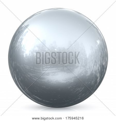Sphere round button silver white ball chrome basic circle geometric shape solid figure simple minimalistic atom element single drop glossy sparkling object blank balloon icon. 3d render illustration