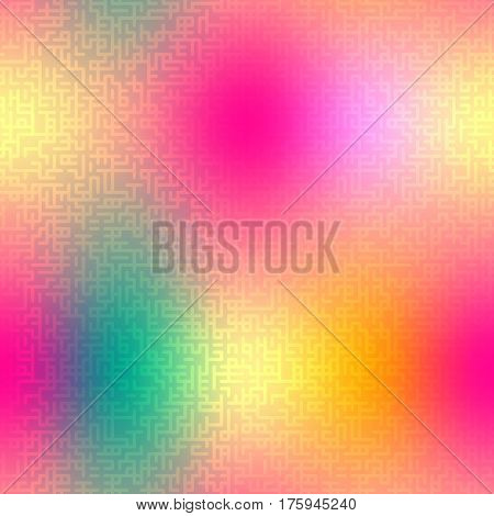 Abstract vector seamless pattern with maze texture. Smooth colorful background with abstract geometric ornament. Easy editable illustration for spring and summer designs of textile, wallpaper, package or wrap.