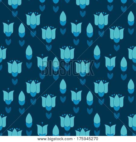 vivid blue color abstract tulip flower motif. vector illustration design in folk rustic Holland style. seamless background for wrapping paper or floral rustic fabric