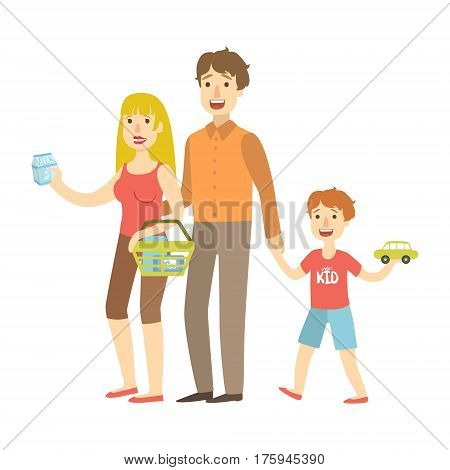 Mom, Dad And Son Holding Toy Car Shopping, Illustration From Happy Loving Families Series. Smiling Cartoon Characters Together With Their Family Members Vector Drawing.