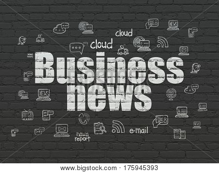 News concept: Painted white text Business News on Black Brick wall background with  Hand Drawn News Icons