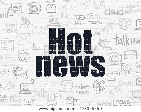 News concept: Painted black text Hot News on White Brick wall background with  Hand Drawn News Icons
