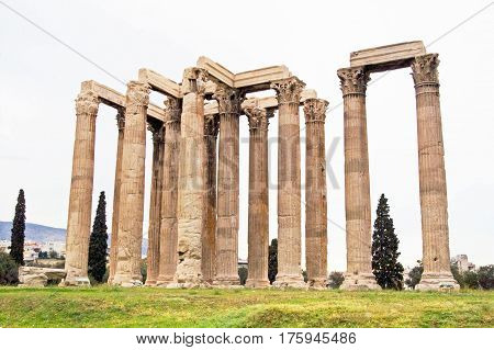 The Temple of Zeus in Athens, Greece