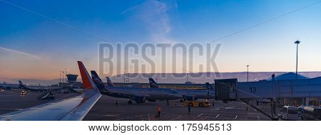 Moscow Sheremetyevo airport Russia - October 16 2015: Airbus A320 Aeroflot VQ-BCM taxiing to terminal after landing at Sheremetyevo international airport at sunrise.