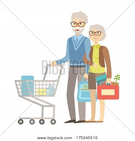 Old People Couple Shopping For Groceries In Supermarket, Illustration From Happy Loving Families Series. Smiling Cartoon Characters Together With Their Family Members Vector Drawing.