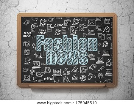 News concept: Chalk Blue text Fashion News on School board background with  Hand Drawn News Icons, 3D Rendering