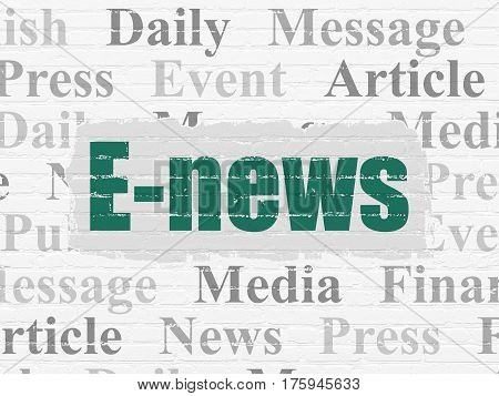 News concept: Painted green text E-news on White Brick wall background with  Tag Cloud
