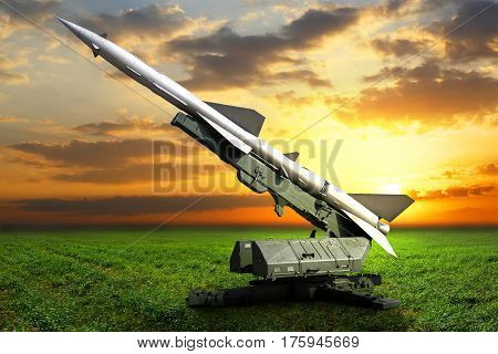 Military equipment. Launch a setup aimed at the sky defense missile. Installation with a rocket on a beautiful background
