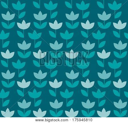 elegant blue color Holland tulip repeatable motif. simple laconic vector illustration design. seamless background for wrapping paper or fabric