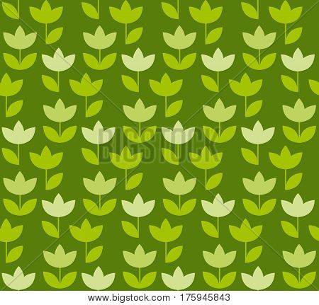 grass green color Holland tulip repeatable motif. simple laconic vector illustration design. seamless background for wrapping paper or fabric