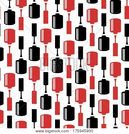 ector seamless pattern with nail polish bottles. Fashion background for promotion beauty salon.