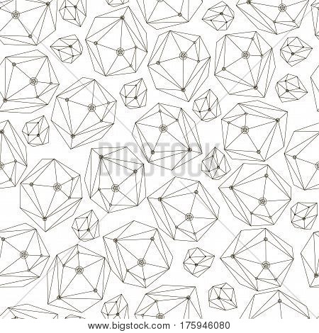 Abstract vector background with framework crystals. Seamless geometry pattern for textile, wallpaper, wrapping paper, web. Stone background