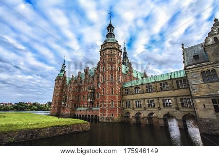 The Frederiksborg Castle. Hillerod Denmark. Frederiksborg castleor rather Palace located in Denmark. One of the recognized masterpieces of the Scandinavian Renaissance.