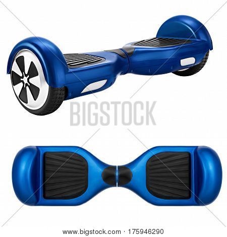 Blue hover board, on a White Background