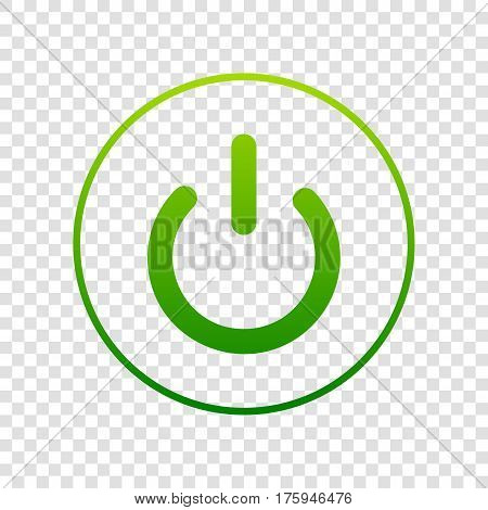 On Off Switch Sign. Vector. Green Gradient Icon On Transparent Background.