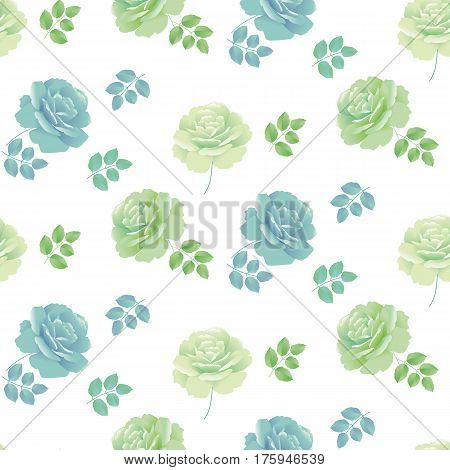 tender spring roses vector illustration. abstract pale blue and green color floral design repeatable element. Seamless pattern for fabric or wrapping paper and backround
