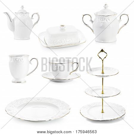 Porcelain kettles, tea kettle, on isolated white background