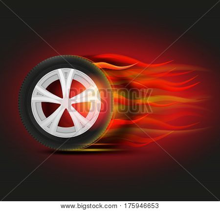 Vector burning tyre image. Modern idea for automotive flyer, banner, booklet, brochure and leaflet design. Editable graphic illustration in dark red, orange and black colors