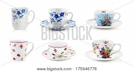 Porcelain mugs, tea mugs, on isolated white background