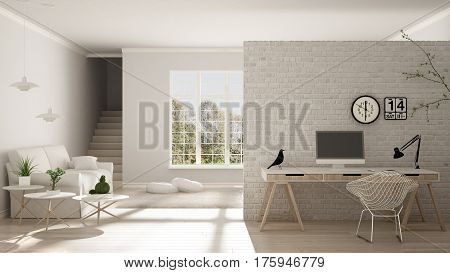 Scandinavian Living With Home Workplace, House Corner Office, Minimalist Interior Design