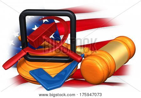 Legal Gavel Concept American Flag With Hammer And Sickle 3D Illustration
