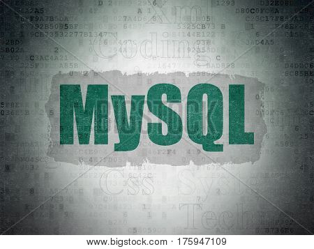 Programming concept: Painted green text MySQL on Digital Data Paper background with   Tag Cloud