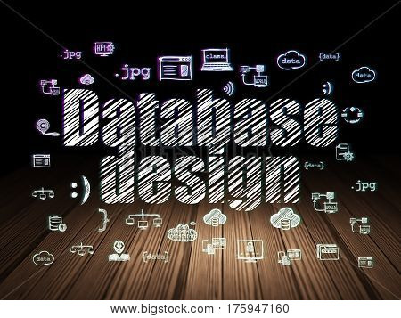 Database concept: Glowing text Database Design,  Hand Drawn Programming Icons in grunge dark room with Wooden Floor, black background