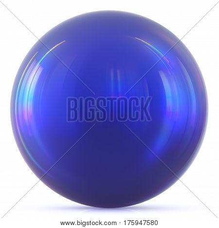 Ball blue sphere round button basic circle geometric shape solid figure simple minimalistic atom element single drop shiny glossy sparkling object blank balloon icon. 3d render illustration isolated