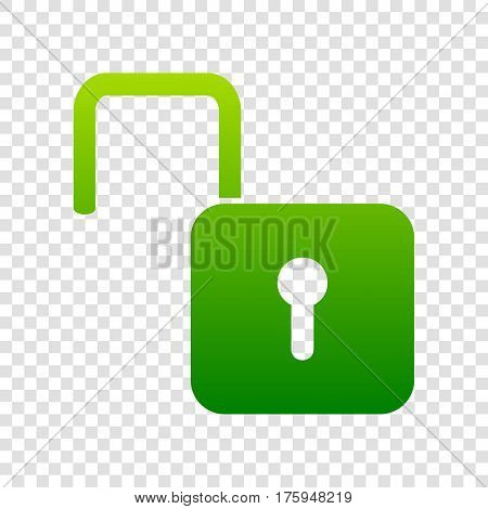 Unlock Sign Illustration. Vector. Green Gradient Icon On Transparent Background.