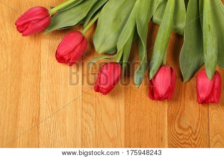 Bouquet Of Red Tulip Flowers
