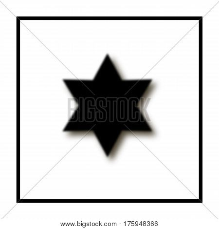 six-pointed star fuzzy black color shadow. Star Of David. black frame square. abstract symbol. white background. vector illustration.