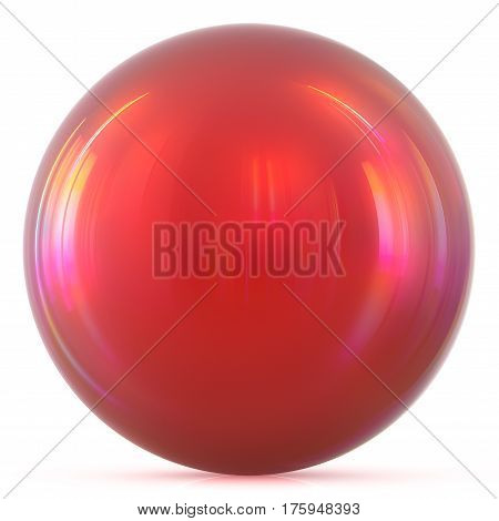 Ball red sphere round button basic circle geometric shape solid figure simple minimalistic atom element single blood drop shiny glossy sparkling object blank balloon icon. 3d illustration isolated
