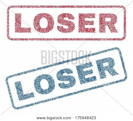 Loser text textile seal stamp watermarks. Blue red fabric vectorized texture. Vector tag inside rounded rectangular banner. Rubber sticker with fiber textile structure.