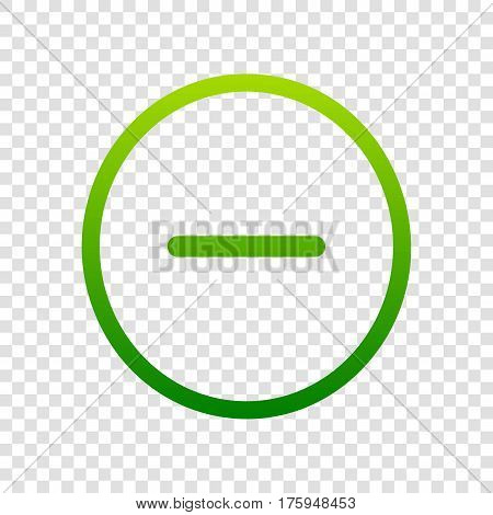 Negative Symbol Illustration. Minus Sign. Vector. Green Gradient Icon On Transparent Background.