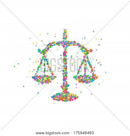 Abstract drawing of scales of justice from multi-colored circles. Photo illustration.