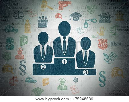 Law concept: Painted blue Business Team icon on Digital Data Paper background with Scheme Of Hand Drawn Law Icons