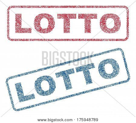 Lotto text textile seal stamp watermarks. Blue red fabric vectorized texture. Vector tag inside rounded rectangular shape. Rubber sticker with fiber textile structure.