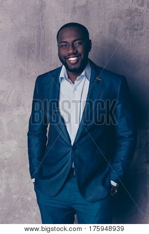 Portrait Of Handsome Afroamerican Man In Stylish Suit Holding Hands In Pockets