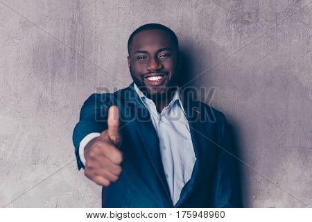 Portrait Of Handsome Afroamerican Man In Stylish Suit Smiling And Showing Thumb Up